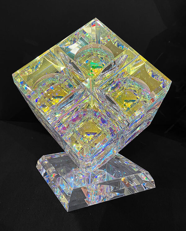 Large Glass Crystal Cube