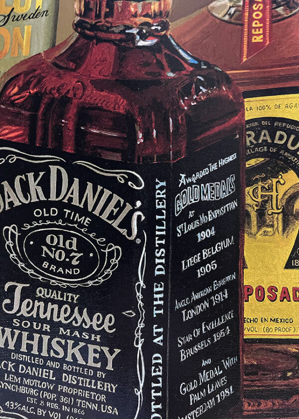 Hyper realistic painting of liquor and spirits