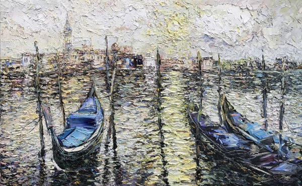"""Gondolas in the Bay"" by Konstantin Savchenko at Art Leaders Gallery, voted ""Michigan's Best Fine Art Gallery"" is located in the heart of West Bloomfield. This full service fine art gallery is the destination for all your art and custom picture framing needs. Our extensive inventory of art includes styles ranging from contemporary to traditional. The gallery represents international, national, and emerging new talent as well as local Michigan artists."