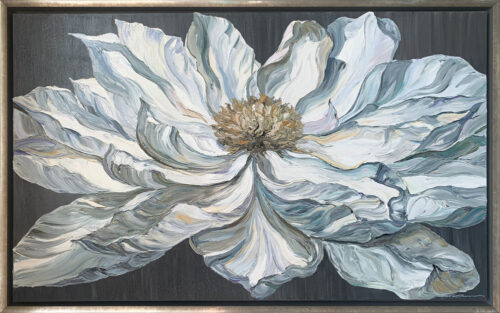 """Vincent"" by Andrii Afanasiev. White blooming flower painted in a Van Gogh impressionistic style"
