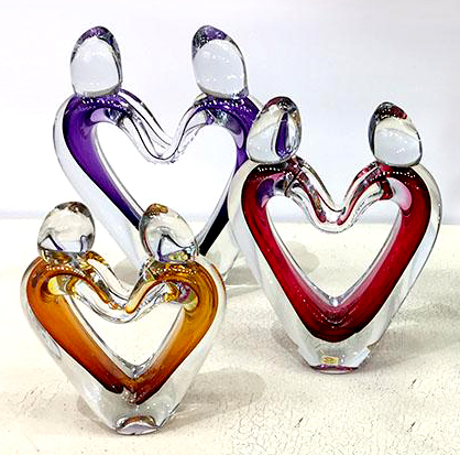 Polish Crystal - Crystal Heart Lovers, Hand-blown glass, Polish artist, Glass, Figures, glass sculpture, Art Leaders Gallery in Michigan.
