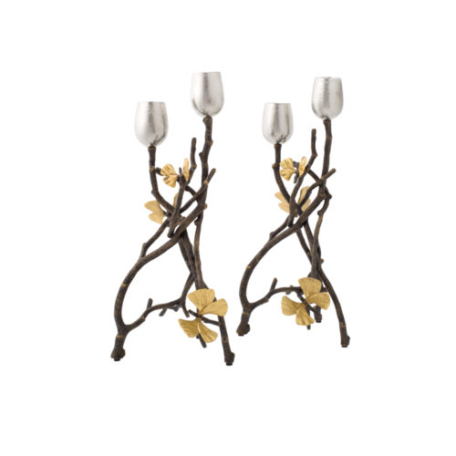 Butterfly Ginko Candleholders - Oxidized, Item #175791 (Set of 2)