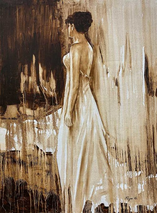 Ink Painting of Female Figure with Sepia Colors