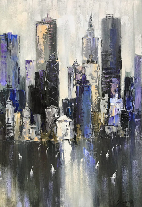 "City by Anastasiya Skryleva at Art Leaders Gallery, voted ""Michigan's Best Fine Art Gallery"" is located in the heart of West Bloomfield. This full service fine art gallery is the destination for all your art and custom picture framing needs. Our extensive inventory of art includes styles ranging from contemporary to traditional. The gallery represents international, national, and emerging new talent as well as local Michigan artists."