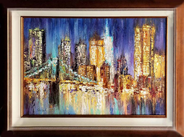 "City in the Evening by Anastasiya Skryleva at Art Leaders Gallery, voted ""Michigan's Best Fine Art Gallery"" is located in the heart of West Bloomfield. This full service fine art gallery is the destination for all your art and custom picture framing needs. Our extensive inventory of art includes styles ranging from contemporary to traditional. The gallery represents international, national, and emerging new talent as well as local Michigan artists."