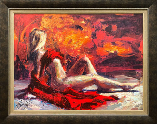 Illumination by Henry Asencio. Blonde female nude figure draped in red. Orange background