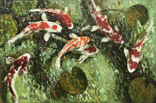 "Koi Fish I by Anastasiya Skryleva at Art Leaders Gallery, voted ""Michigan's Best Fine Art Gallery"" is located in the heart of West Bloomfield. This full service fine art gallery is the destination for all your art and custom picture framing needs. Our extensive inventory of art includes styles ranging from contemporary to traditional. The gallery represents international, national, and emerging new talent as well as local Michigan artists."