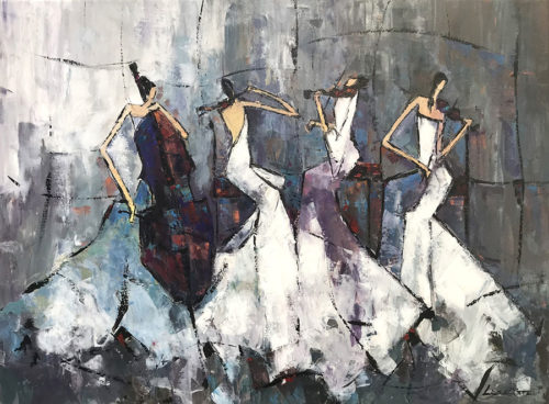 "Ladies Quartet by Lia Kim at Art Leaders Gallery, voted ""Michigan's Best Fine Art Gallery"" is located in the heart of West Bloomfield. This full service fine art gallery is the destination for all your art and custom picture framing needs. Our extensive inventory of art includes styles ranging from contemporary to traditional. The gallery represents international, national, and emerging new talent as well as local Michigan artists."