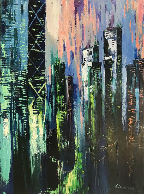 """Neon City by Anastasiya Skryleva at Art Leaders Gallery, voted """"Michigan's Best Fine Art Gallery"""" is located in the heart of West Bloomfield. This full service fine art gallery is the destination for all your art and custom picture framing needs. Our extensive inventory of art includes styles ranging from contemporary to traditional. The gallery represents international, national, and emerging new talent as well as local Michigan artists."""