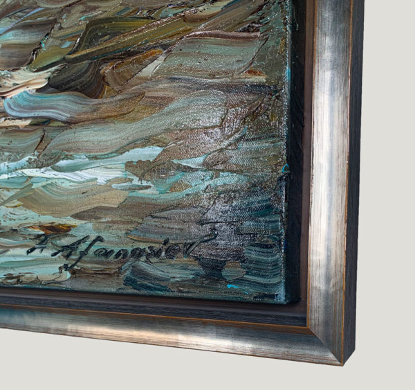"""""""Open Sea"""" by Andrii Afanasiev detail of thick oil paint application"""