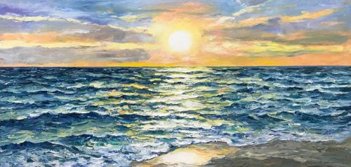 """Sunset Waves"" by Andrii Afanasiev Art Leaders Gallery, voted ""Michigan's Best Fine Art Gallery"" is located in the heart of West Bloomfield. This full service fine art gallery is the destination for all your art and custom picture framing needs. Our extensive inventory of art includes styles ranging from contemporary to traditional. The gallery represents international, national and emerging new talent as well as local Michigan artists."