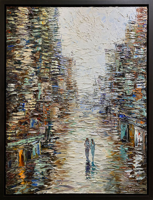 Oil Painting of Couple walking in City