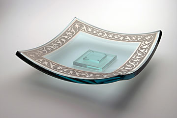 Le Jardin Square Platter by Stephen Schlanser at Art Leaders Gallery - Michigan's Finest Art Gallery