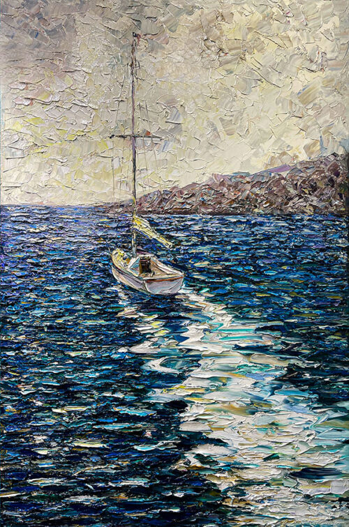 Textured Oil Painting of Sailboat on Water