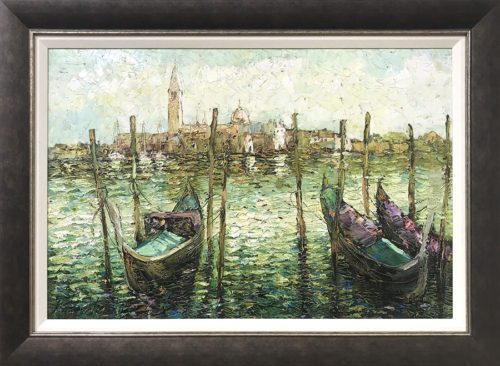 """Three Gondolas"" by Konstantin Savchenko at Art Leaders Gallery, voted ""Michigan's Best Fine Art Gallery"" is located in the heart of West Bloomfield. This full service fine art gallery is the destination for all your art and custom picture framing needs. Our extensive inventory of art includes styles ranging from contemporary to traditional. The gallery represents international, national, and emerging new talent as well as local Michigan artists."