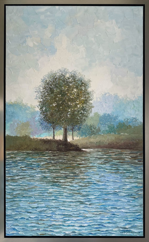 """A Perfect Summer Day"" by Andrii Afanasiev at Art Leaders Gallery. Textured vertical landscape with tree framed with a champagne floater frame."