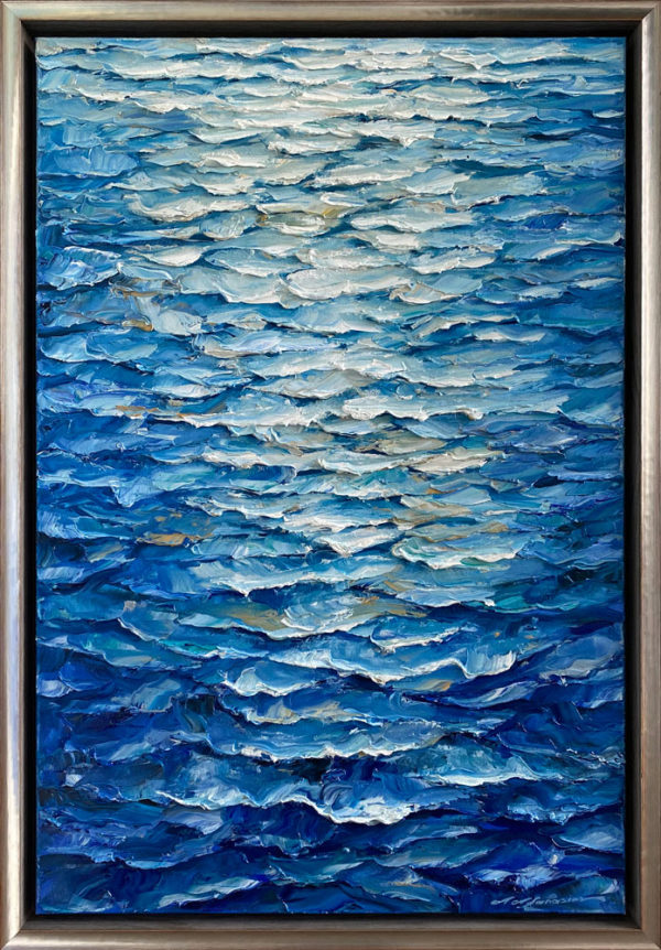 """Gleaming Waters III"" by Andrii Afanasiev Art Leaders Gallery. Textured blue water oil painting in silver frame"