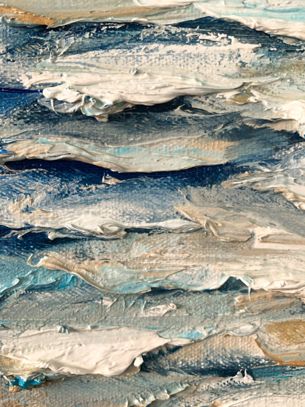 """""""Gleaming Waters IV"""" by Andrii Afanasiev detail of thick oil paint application"""