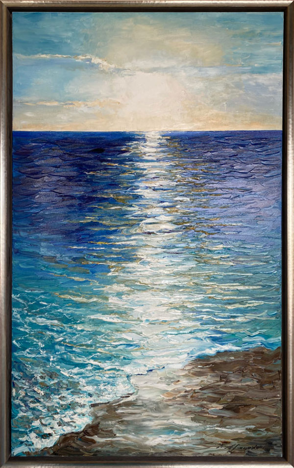 """""""Opean Sea"""" by Andrii Afanasiev at Art Leaders Gallery. Vertical seascape painting in silver frame"""