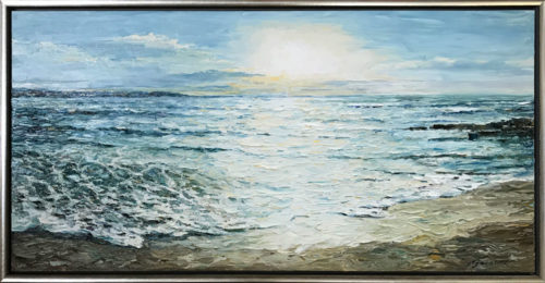 """Sumer Sunset"" by Andrii Afanasiev at Art Leaders Gallery. Impressionist seascape painting in silver frame"