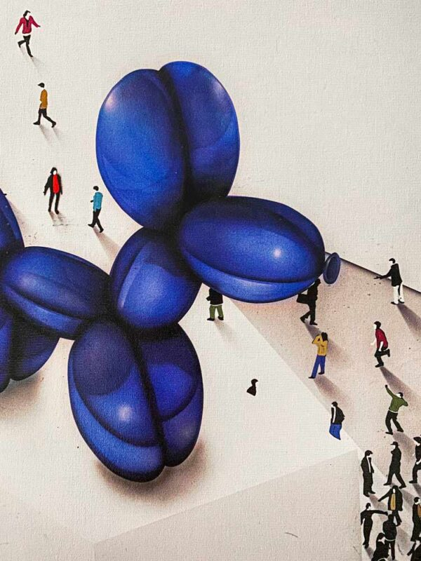 The Underdog by Craig Alan. Part of the Populus Series, blue balloon dog sculpture surrounded by people