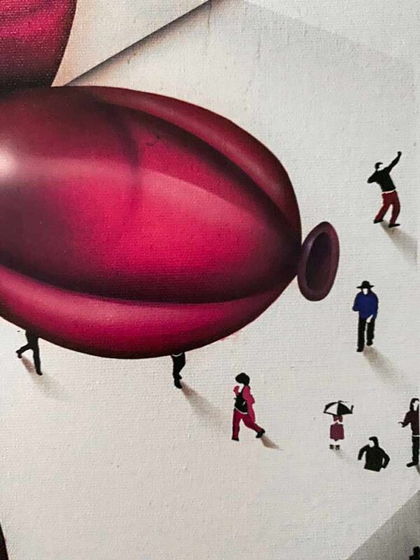 The Underdog II by Craig Alan. Part of the Populus Series, pink balloon dog sculpture surrounded by people
