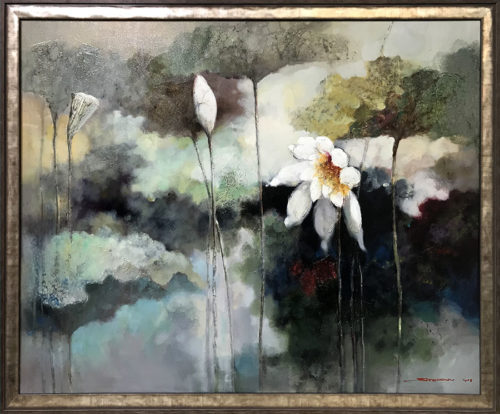 """Lotus Flower Duet III"" - Framed Artist: Stefan Yi, Chinese ( b. 1972 ) Medium: Original Oil on Canvas Subject: Abstract Lotus Flowers Painting Size: 48"" W x 36"" H Image Size: 51.5"" W x 39.5"" H All artwork is signed by Stefan Yi"