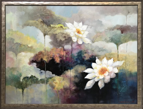 """Lotus Flower Duet II"" - Framed Artist: Stefan Yi, Chinese ( b. 1972 ) Medium: Original Oil on Canvas Subject: Abstract Lotus Flowers Painting Size: 48"" W x 36"" H Image Size: 51.5"" W x 39.5"" H All artwork is signed by Stefan Yi"