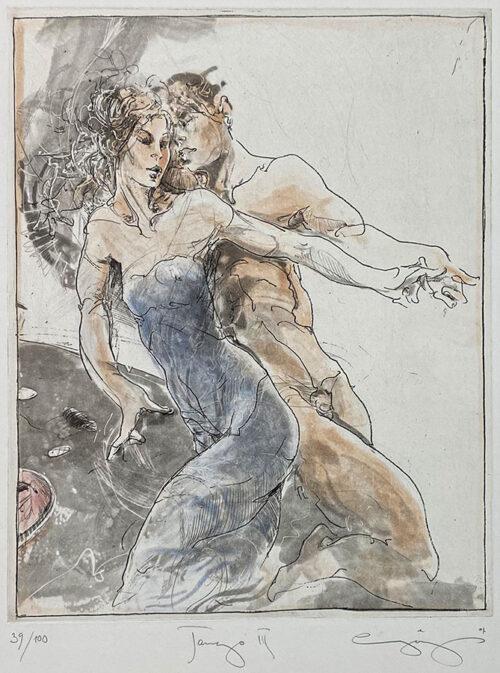 Figurative Etching of Tango Dancing