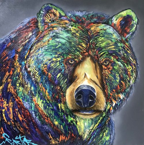 """Bear"" Artist: Brian Porter Medium: Original Oil on Canvas Subject: Stylized Bear Portrait Price: $3,995.00 Artwork Size: 48"" x 48"" All artwork is signed by Brian Porter and comes with Certificate of Authenticity and Appraisal. Art Leaders Gallery is an authorized Brian Porter art dealer. Free shipping in the continental USA. Additional shipping charges may apply for Alaska, Hawaii and Puerto Rico. Client will be contacted regarding shipping if additional charges apply. Please contact the gallery for international shipping."