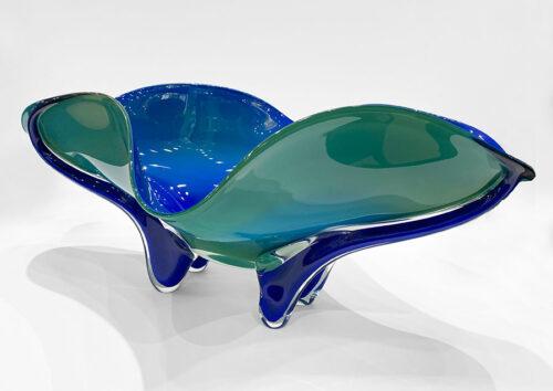 Organic, Blue, Floral Glass Sculpture