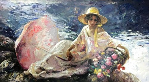 """""""En La Orilla"""" Artist: Jose Royo, Spanish ( b. 1941 ) Medium: Serigraph on Clayboard Panel Subject: Figurative Female Portrait Retail Price: $8,500.00 Sale Price: $3,995.00 Image Size: 54"""" W x 30"""" H Edition: 86/230 - RARE All artwork is signed and numbered by Jose Royo andcomes with the original Certificate of Authenticity. Art Leaders Gallery is an authorized Jose Royo art dealer. Free shipping in the continental USA. Additional shipping charges may apply for Alaska, Hawaii and Puerto Rico. Client will be contacted regarding shipping if additional charges apply. Please contact the gallery for international shipping"""