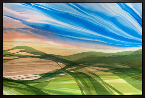 Fairway by Antonio Molinari at Art Leaders Gallery. Paint pour landscape at Farmington Hills Golf Club Michigan.