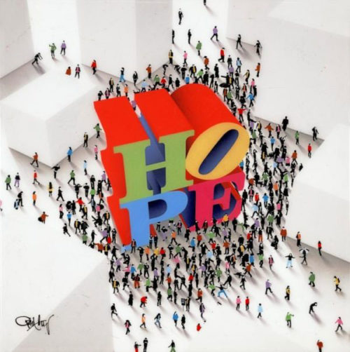 Craig Alan's Populus Series Hope Around The Corner featuring mini figures gathering around the letters HOPE available at Art Leaders Gallery
