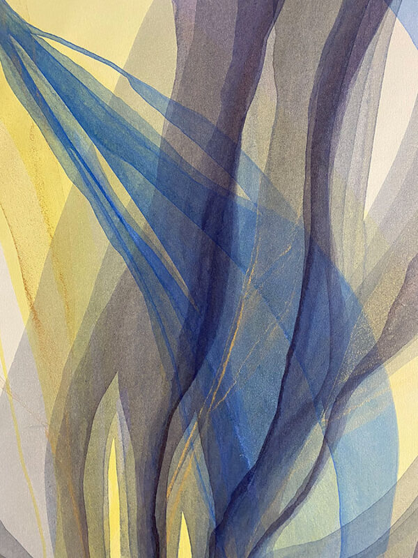 Abstract Poured Paint with yellow, purple, blue