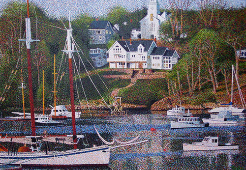 "Rockport Harbor by Richard Powell at Art Leaders Gallery, voted ""Michigan's Best Fine Art Gallery"" is located in the heart of West Bloomfield. This full service fine art gallery is the destination for all your art and custom picture framing needs. Our extensive inventory of art includes styles ranging from contemporary to traditional. The gallery represents international, national and emerging new talent as well as local Michigan artists."