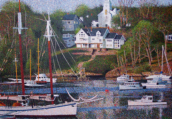 """Rockport Harbor by Richard Powell at Art Leaders Gallery, voted """"Michigan's Best Fine Art Gallery"""" is located in the heart of West Bloomfield. This full service fine art gallery is the destination for all your art and custom picture framing needs. Our extensive inventory of art includes styles ranging from contemporary to traditional. The gallery represents international, national and emerging new talent as well as local Michigan artists."""
