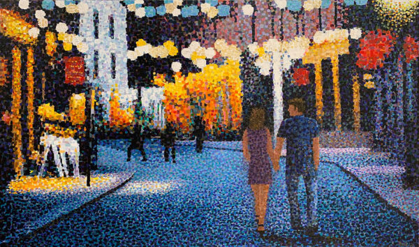 """City Light Stroll by Richard Powell. Known for his unique pointalisim stylle, Powell creates beautiful and complex scenes and portraits using only dots of color. Art Leaders Gallery, voted """"Michigan's Best Fine Art Gallery"""" is located in the heart of West Bloomfield. This full service fine art gallery is the destination for all your art and custom picture framing needs. Our extensive inventory of art includes styles ranging from contemporary to traditional. The gallery represents international, national and emerging new talent as well as local Michigan artists. This is an original acrylic painting."""