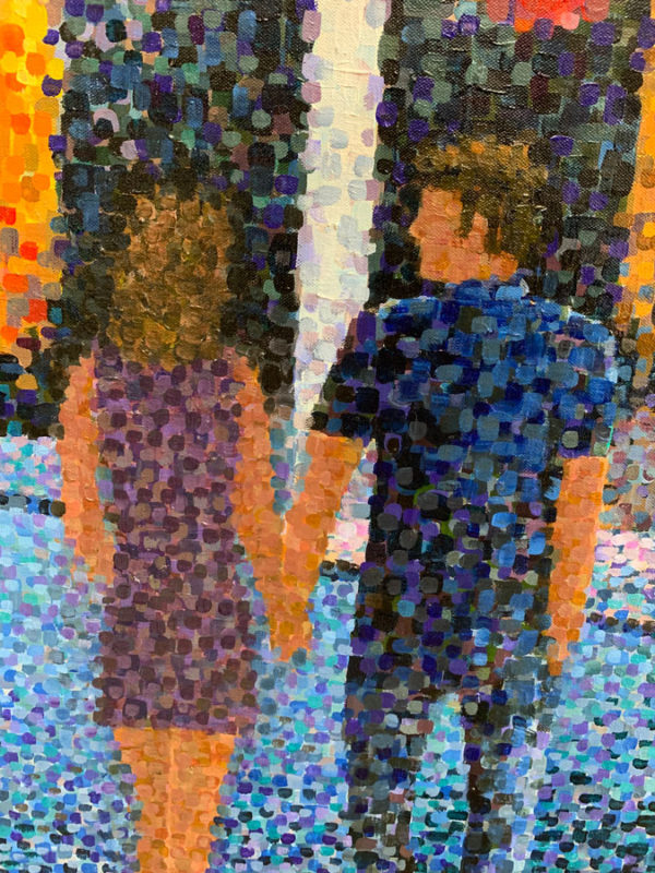 """City Light Stroll by Richard Powell. Known for his unique pointalisim stylle, Powell creates beautiful and complex scenes and portraits using only dots of color. Art Leaders Gallery, voted """"Michigan's Best Fine Art Gallery"""" is located in the heart of West Bloomfield. This full service fine art gallery is the destination for all your art and custom picture framing needs. Our extensive inventory of art includes styles ranging from contemporary to traditional. The gallery represents international, national and emerging new talent as well as local Michigan artists."""