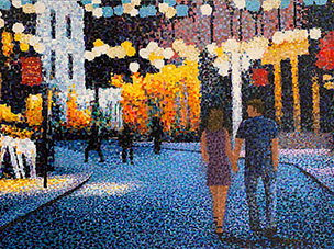 "City Light Stroll by Richard Powell. Known for his unique pointalisim stylle, Powell creates beautiful and complex scenes and portraits using only dots of color. Art Leaders Gallery, voted ""Michigan's Best Fine Art Gallery"" is located in the heart of West Bloomfield. This full service fine art gallery is the destination for all your art and custom picture framing needs. Our extensive inventory of art includes styles ranging from contemporary to traditional. The gallery represents international, national and emerging new talent as well as local Michigan artists."
