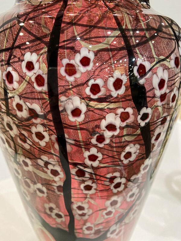Red Glass Floral Vase