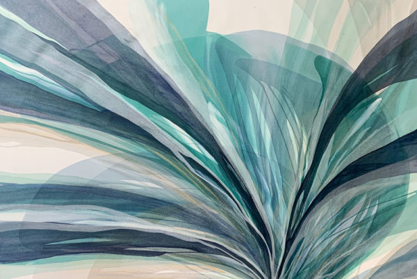 Teal Tides by Antonio Molinari at Art Leaders Gallery. teal and blue poured paint abstract.