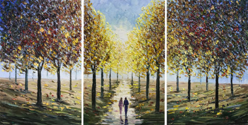 """Autumn Sunrise Triptych"" by Konstantin Savchenko at Art Leaders Gallery, voted ""Michigan's Best Fine Art Gallery"" is located in the heart of West Bloomfield. This full service fine art gallery is the destination for all your art and custom picture framing needs. Our extensive inventory of art includes styles ranging from contemporary to traditional. The gallery represents international, national, and emerging new talent as well as local Michigan artists."