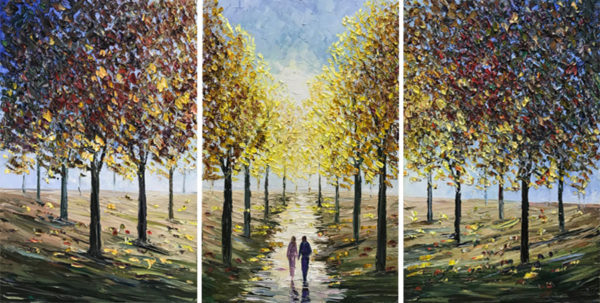 """""""Autumn Sunrise Triptych"""" by Konstantin Savchenko at Art Leaders Gallery, voted """"Michigan's Best Fine Art Gallery"""" is located in the heart of West Bloomfield. This full service fine art gallery is the destination for all your art and custom picture framing needs. Our extensive inventory of art includes styles ranging from contemporary to traditional. The gallery represents international, national, and emerging new talent as well as local Michigan artists."""