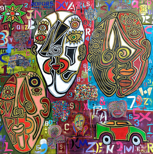 """Three Faces of God"" by Rodney Denne (RED) at Art Leaders Gallery, voted ""Michigan's Best Fine Art Gallery"" is located in the heart of West Bloomfield. This full service fine art gallery is the destination for all your art and custom picture framing needs. Our extensive inventory of art includes styles ranging from contemporary to traditional. The gallery represents international, national, and emerging new talent as well as local Michigan artists."