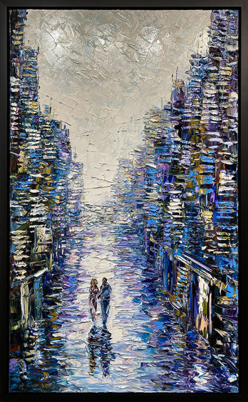 Oil Painting of Cityscape with Figures