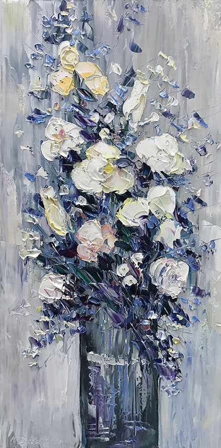 """White Floral Bouquet IV"" by Konstantin Savchenko at Art Leaders Gallery, voted ""Michigan's Best Fine Art Gallery"" is located in the heart of West Bloomfield. This full service fine art gallery is the destination for all your art and custom picture framing needs. Our extensive inventory of art includes styles ranging from contemporary to traditional. The gallery represents international, national, and emerging new talent as well as local Michigan artists."