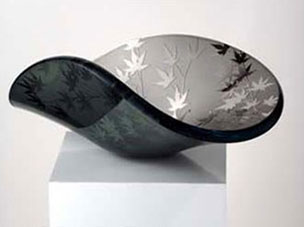 Black Glass Vessel with Japanese flowers and leaves
