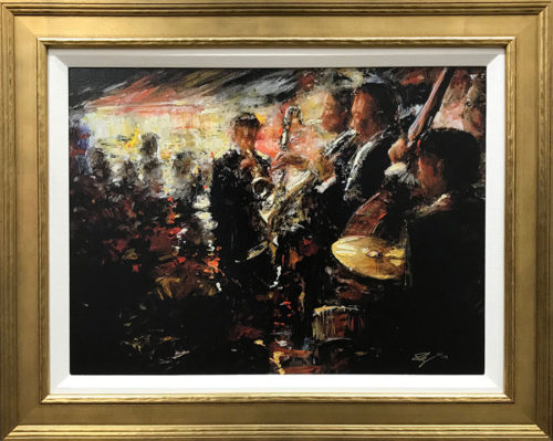 """Jazz Club"" Art Leaders Gallery, voted ""Michigan's Best Fine Art Gallery"" is located in the heart of West Bloomfield. This full service fine art gallery is the destination for all your art and custom picture framing needs. Our extensive inventory of art includes styles ranging from contemporary to traditional. The gallery represents international, national, and emerging new talent as well as local Michigan artists."