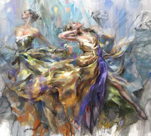 """Loving the Spin"" by Anna Razumovskaya at Art Leaders Gallery, voted ""Michigan's Best Fine Art Gallery"" is located in the heart of West Bloomfield. This full service fine art gallery is the destination for all your art and custom picture framing needs. Our extensive inventory of art includes styles ranging from contemporary to traditional. The gallery represents international, national and emerging new talent as well as local Michigan artists."